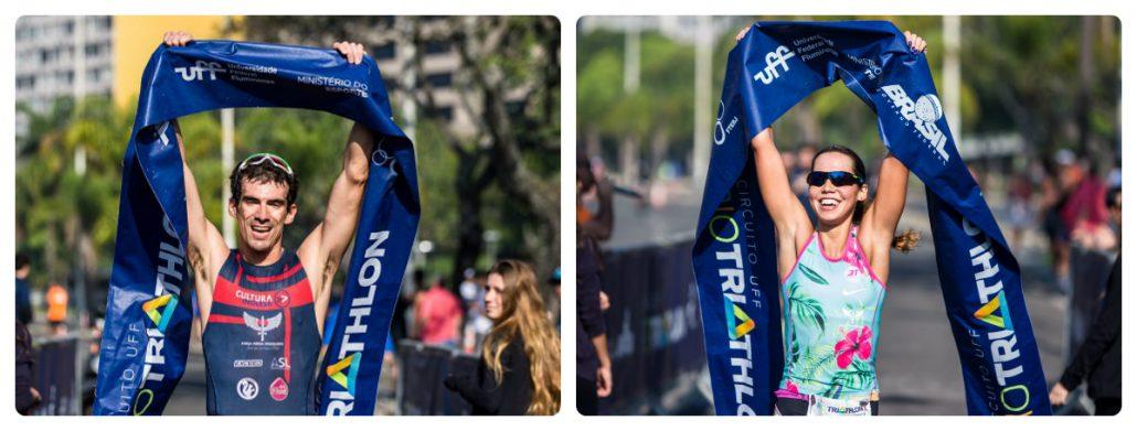 Os campeões da segunda etapa do Duathlon do Circuito UFF Rio Triathlon. Foto de Miriam Jeske/Heusi Action/Divulgação