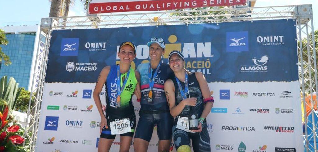 Pódio feminino do Ironman 70.3 Maceió (Divulgação)