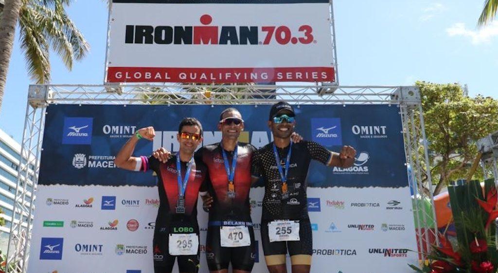 Pódio masculino do Ironman 70.3 Maceió (Divulgação)
